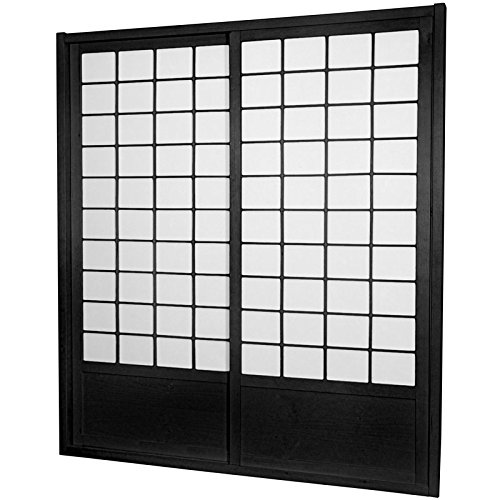 Oriental Furniture 7 ft. Tall Zen Shoji Sliding Door Kit - Black