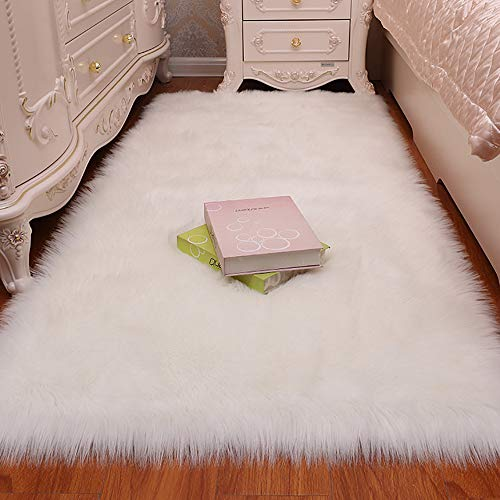 LOCHAS Luxury Fluffy Rug White Faux Fur Sheepskin Area Rugs for Bedroom Bedside, Soft Furry Rugs Washable Living Room Carpet Nursery, 3x5 Feet (Rug White Fuzzy Fur)