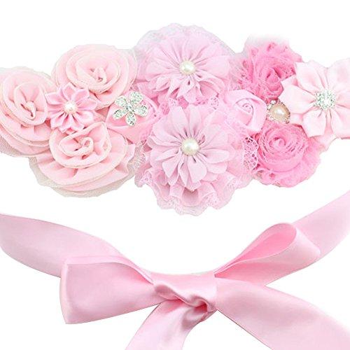 (Floral Fall Chic Maternity sash Newborn Photo Prop Flower girls Bridal Rhinestone Belt SH-01)