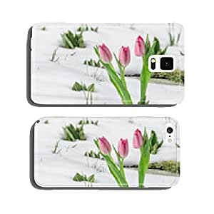 snowdrops tulip flowers in the snow Thaw cell phone cover case iPhone5
