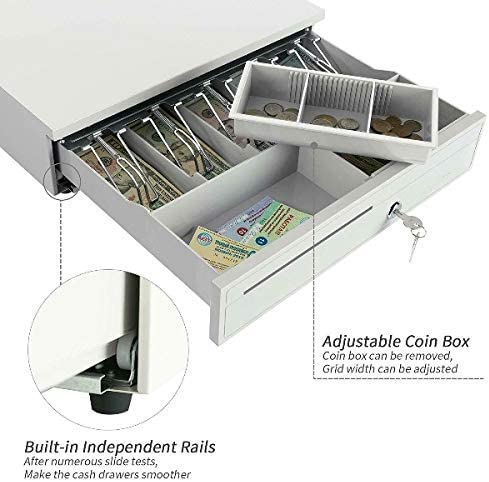 White Cash Drawer Money Box with Adjustable Tray Lock and Key RJ11//RJ12 Cable Easy Push Opening Suitable for All Types of Cash Register POS Machines Great for Commercial Use Such As Supermarket Store