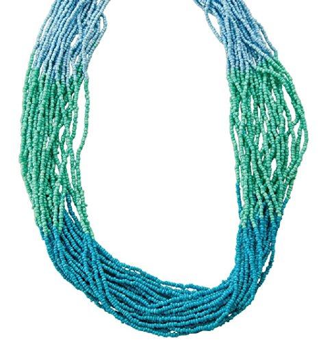 Wholesale Boutique Jewelry Costume (Women's Ocean Blue Fashion Trendy Glass Beaded Strand Necklace, IJJWLM 24