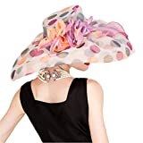 Krastal Womens Organza Hat Summer British Large Wide Brim Derby Fedora with Polka Dot