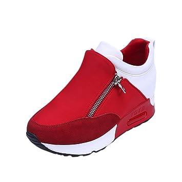 Zapatillas estilo ante suave con plataforma 2 cm - Rojo, 38 EU
