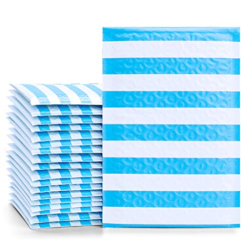 Fu Global #000 4x8 Inches Poly Bubble Mailers Stripe Padded Envelopes Blue Pack of 50
