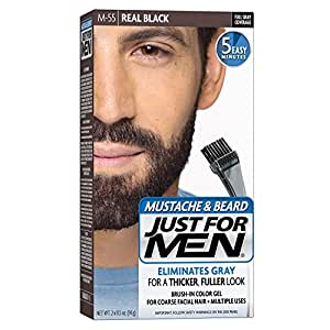 JUST FOR MEN Color Gel Mustache & Beard M-55 Real Black 1 Each