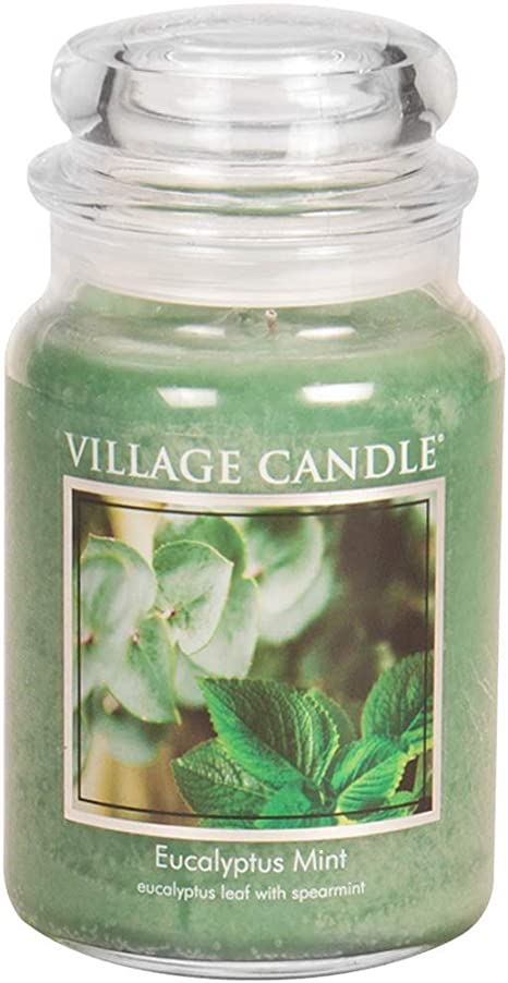 Amazon Com Village Candle Eucalyptus Mint Large Glass Apothecary Jar Scented Candle 21 25 Oz Green Home Kitchen