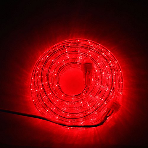 24 Ft. Plugin Rope Lights, 287 Red LEDs, Connectable, Dimmable, Waterproof, Indoor/Outdoor Use, Ideal for Backyards, Weddings and Christmas Decor