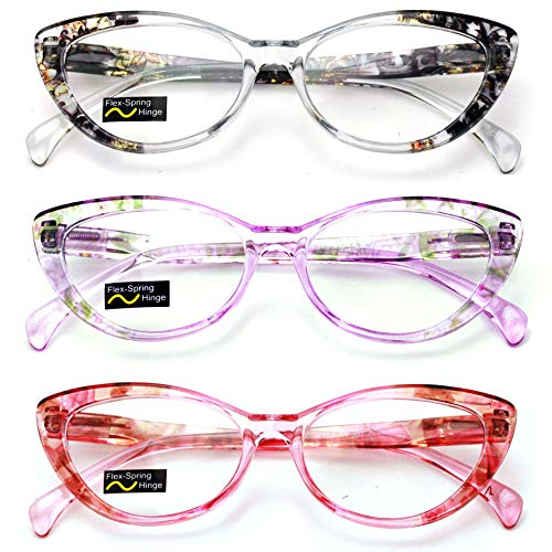 (3 Pairs Lot Women Cateye Translucent Clear Floral Pattern Fashion Reading Glasses Reader (3 Assorted (black/purple/red), 2.00))