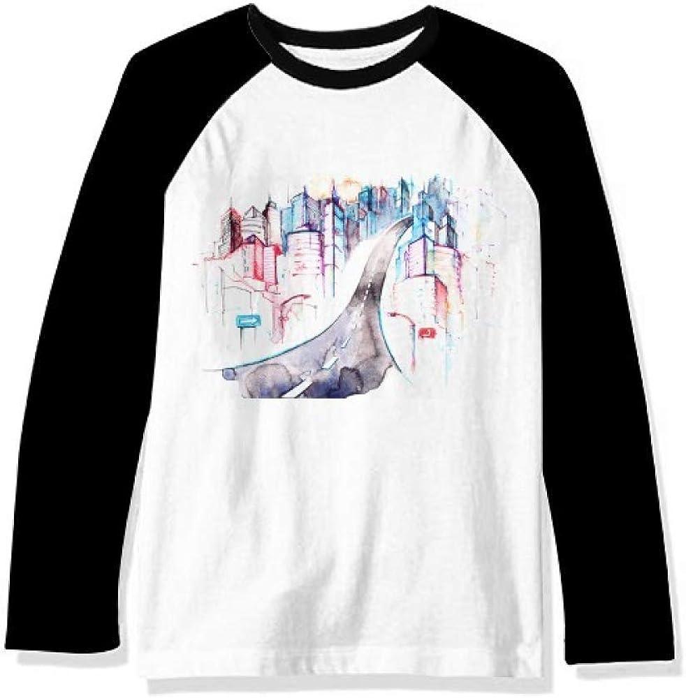 DIYthinker City Building Highway Streetlight Watercolor Long Sleeve Top Raglan T-Shirt Cloth