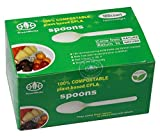 GreenWorks 100% Biodegradable Compostable CPLA Disposable Spoons,100 Ct Large Heavyweight Bio-Based Plastic Utensils Flatware Cutlery Spoons