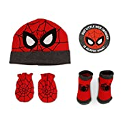 Marvel Baby Boys Spiderman Beanie, Mitten And Socks Take-Me-Home Set, 0-3 Months