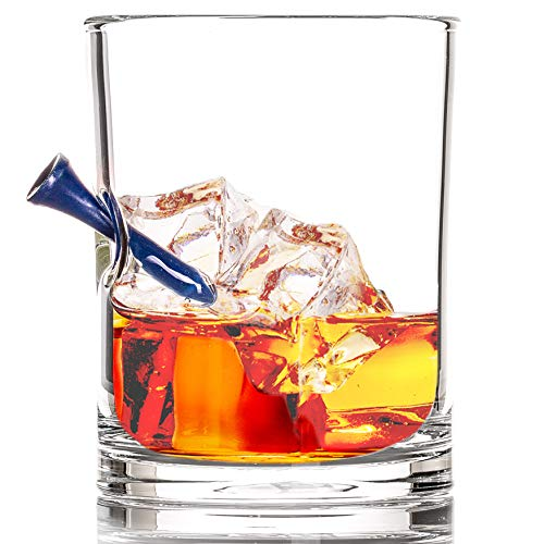 The Original Whiskey Glass Embedded with a Golf Tee - Blue