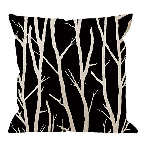 - HGOD DESIGNS Birch Tree Pillow Case,Tree in Black and White Cotton Linen Cushion Cover Square Standard Home Decorative for Men/Women 18x18 inch White Black