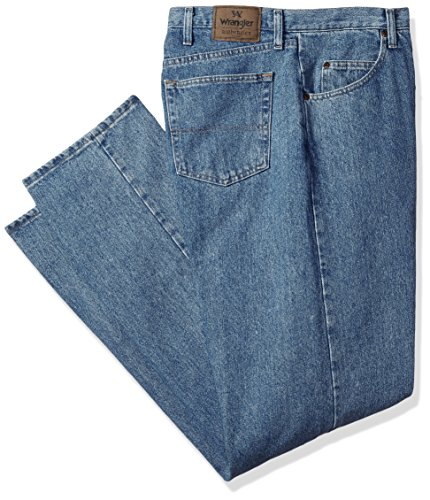 Wrangler Authentics Men's Classic 5-Pocket Relaxed Fit Cotton Jean, Stone Bleach, 42W x 36L