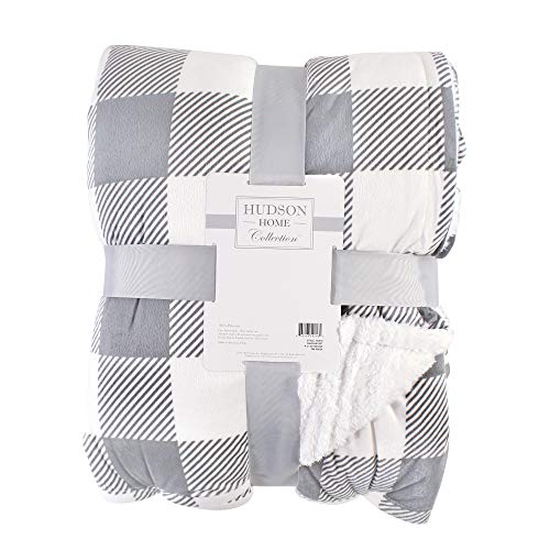 Hudson Baby Home Mink Blanket with Sherpa Back, Gray Plaid Sherpa, 60X80 in. (Oversize Throw) (59217)