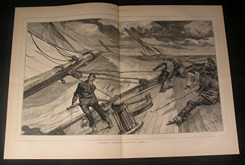 Yacht Racing Tilted Deck Windy Day Rough Waves 1875 antique engraved print - Waves Rough