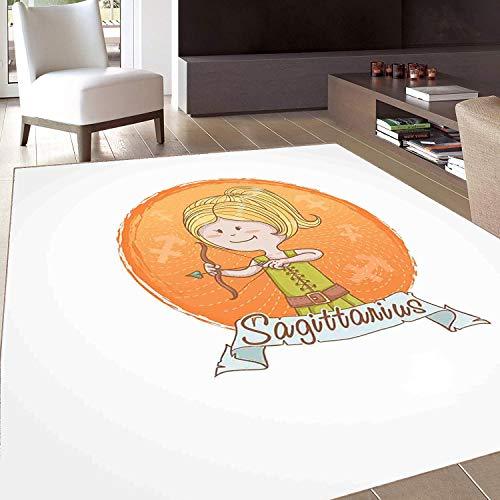 Rug,FloorMatRug,Zodiac Sagittarius,AreaRug,Cartoon Style Girl on a Warm Colored Background with Lines Zodiac Banner,Home mat,5'8