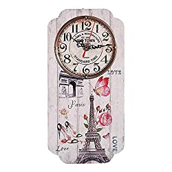 Vintage European Style Wall Clock with Eiffel Tower Pattern Arabic Numerals Geometric Rectangle Wall Analog Clock for Home Decor