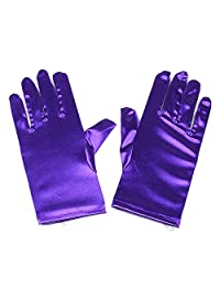 Women Wrist Length Adult Size Stretchy Satin Gloves … (Purple)
