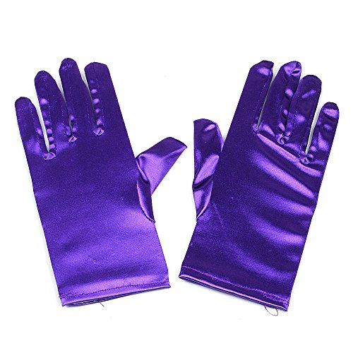 Satin Gloves Wrist Length For Ladies (Purple) -
