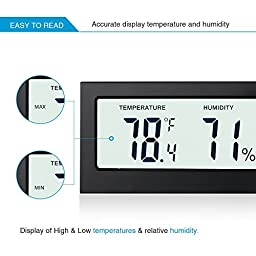 Indoor Humidity Thermometer Monitor Sensor, Amir Digital Thermometer Hygrometer and Humidity Gauge -Accurate Readings -(°C/°F) -Min/Max Records -For Cars, Home, Office