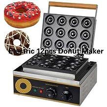 12pcs Commercial/Home Use Electric Donut Maker Machine Doughnut Waffle Baker Iron Fryer (110/220v)