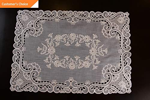 Kaputar Embroidery Organza Sheer Fabric Solid Beige Embroidered Placemat Runner | Model TBLCLTH - 1338 | 6 Pcs 14x20034