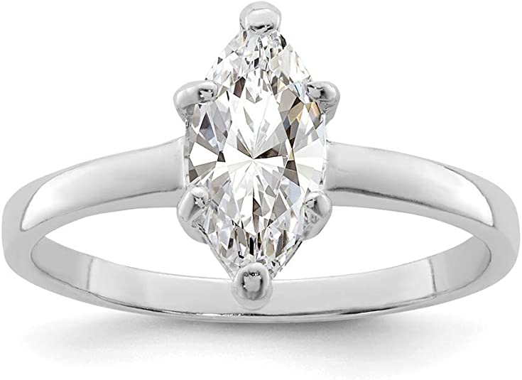 Engagement Ring Marquise 7x4mm Diamond Semi Mount Setting Sterling Silver 925