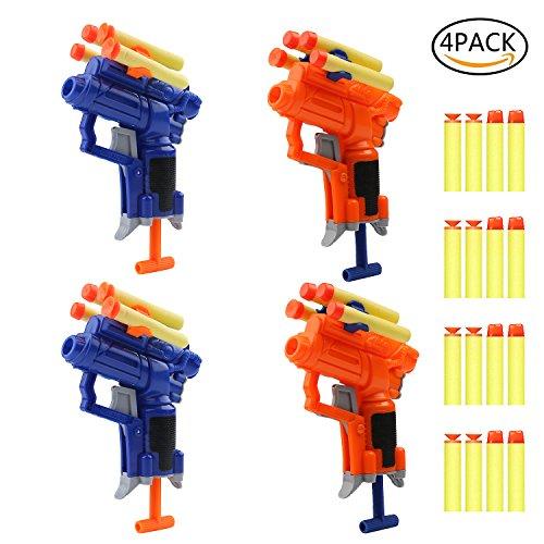 4 Pack Blaster Gun Toy with 16 Foam Darts Great Party Favors Spring Powered Gun Kit for Kids (Toy Dart Gun)