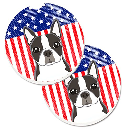 (Caroline's Treasures American Flag & Boston Terrier Set of 2 Cup Holder Car Coasters BB2133CARC, 2.56, Multicolor)
