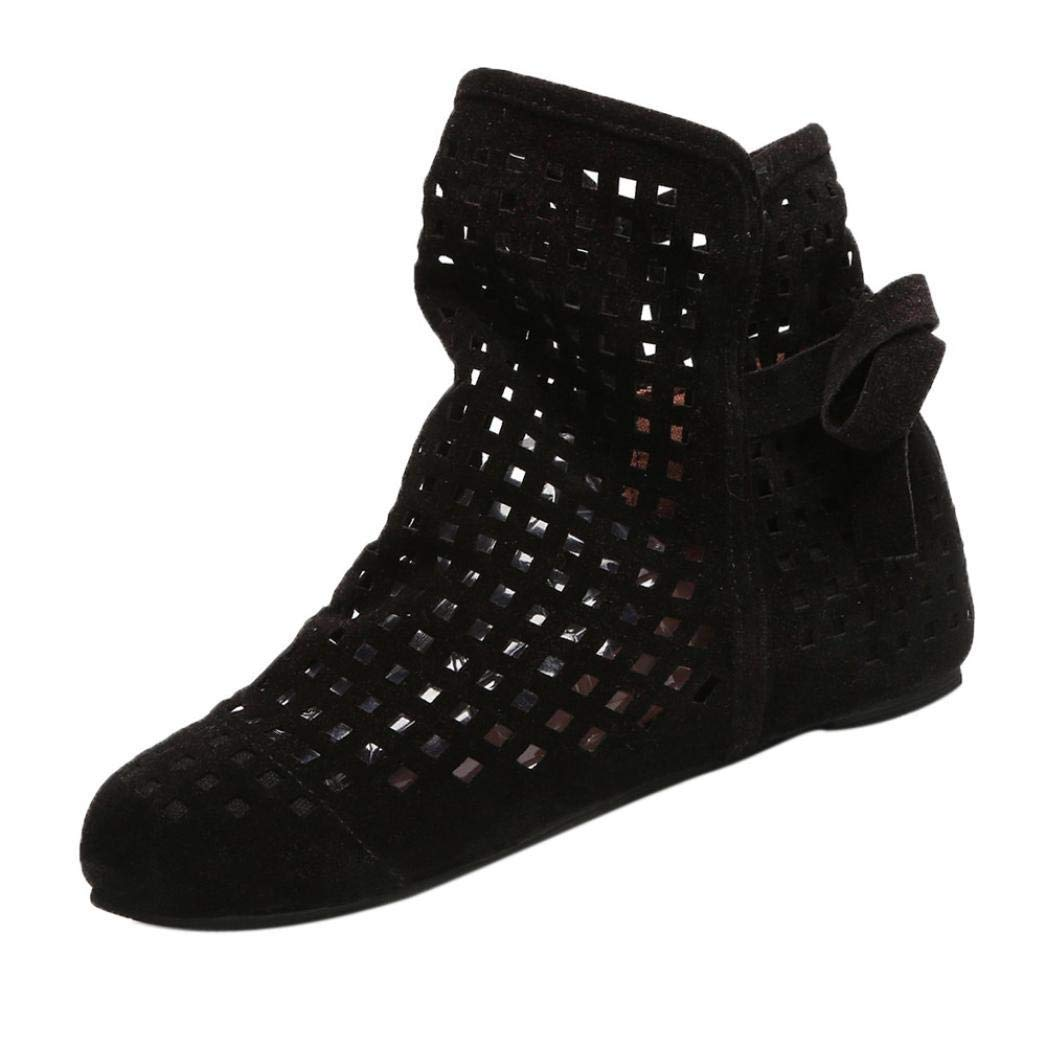 Gyoume Sandals Hollow Out Ankle Boots Shoes Women Flat Wedges Boots Girls Cute Booties Dress Shoes by Gyoume (Image #2)