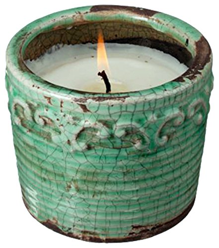 "Swan Creek 9 Oz. 100% Soy Wax 45+ Hour Round Pottery Candle ""Citrus & Sage"" -  - living-room-decor, living-room, candles - 51ecIxeOJ8L -"