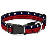 Buckle-Down Americana Stars & Stripes4 Blue/White/Red Martingale Dog Collar, 1.5