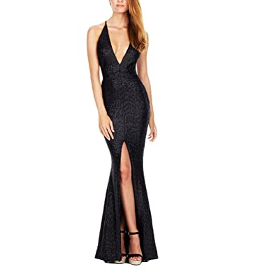 Women Sequin Plunge V Neck Split Maxi Dress Sleeveless Long Prom Dress for Evening Party (
