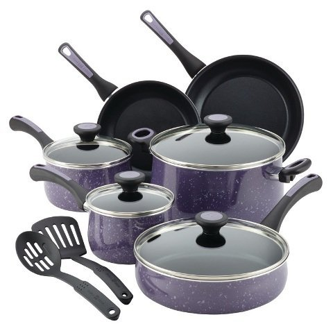 Paula Deen 16986 Riverbend Aluminum Nonstick Cookware Set44; Lavender Speckle - 12 Piece