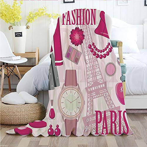 - Ylljy00 Girls,Throw Blankets,Flannel Plush Velvety Super Soft Cozy Warm with/Fashion Theme in Paris with Outfits Dress Watch Purse Perfume Parisienne Landmark/Printed Pattern(70