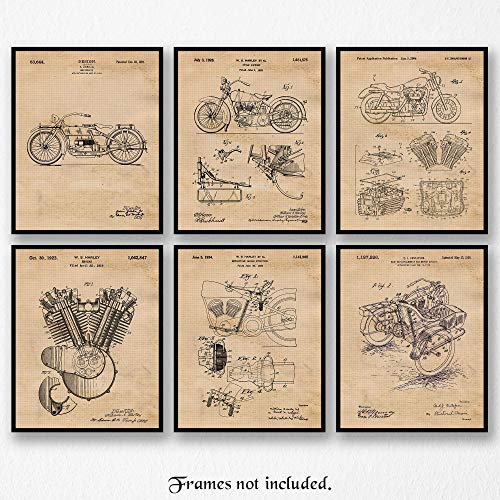 Vintage Harley Davidson Patent Poster Prints, Set of 6 (8×10) Unframed Photos, Wall Art Decor Gifts Under 20 for Home, Office, Man Cave, College Student, Teacher, American Motorcycles Touring Fan