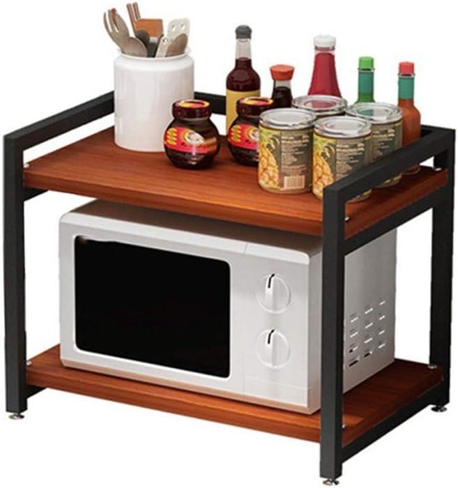 キッチン棚 2ティアの電子レンジラック棚木製収納ラックキッチンカウンターとキャビネット棚木製棚 キッチンに適しています (Color : Black, Size : 60X50X40CM)