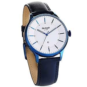Famar Black leather Hybrid Smart watch L12E11D-Aurora Blue Color-Sports,Travel,Meeting,Date