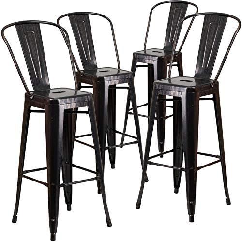 Flash Furniture Commercial Grade 4 Pack 30″ High Black-Antique Gold Metal Indoor-Outdoor Barstool