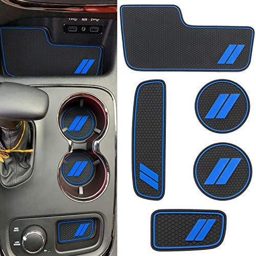 ABESTcar for Dodge Charger Accessories Cup Holder Insert 2015-2021 Center Console Liners Mat Interior Pocket Liners 6-pc Blue Trim