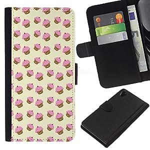 EJOY---La carpeta del tirón la caja de cuero de alta calidad de la PU Caso protector / Sony Xperia Z2 D6502 / --magdalena del mollete modelo rosado amarillo lindo