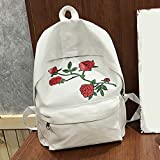 Fashion Girl School Bags with Rose Embroidered Canvas Backpack Rucksack Shoulder Bag Crossbody Messenger Bag (White)