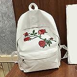 Fashion Girl School Bags with Rose Embroidered Canvas Backpack Rucksack Shoulder Bag Crossbody Messenger Bag (White)