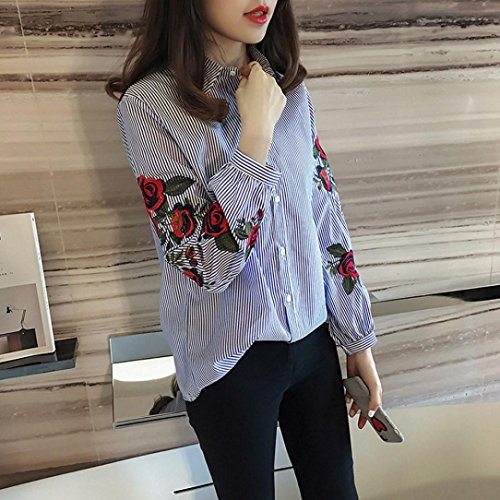 longues Femme Blouse Manches ray Chemisiers HCqZXwd