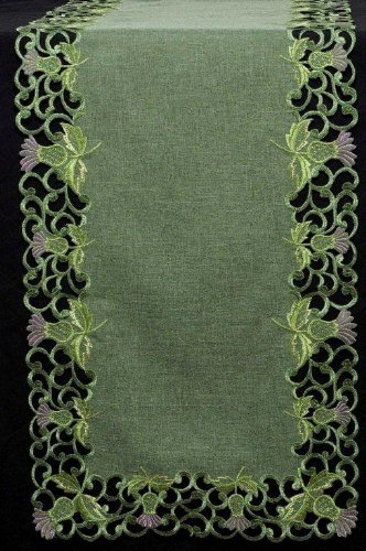Glass Thistle - Table Runner (Small) in a Green Balmoral Thistle Design