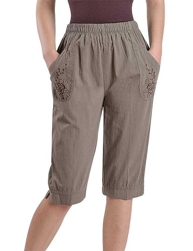IDEALSANXUN Womens Retro Floral Embroidery Elastic Waist Knee Length Shorts