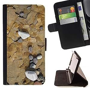 ForSamsung Galaxy S3 MINI i8190 (NOT S3) Case , Sea Beach Interesante Geología Contour- la tarjeta de Crédito Slots PU Funda de cuero Monedero caso cubierta de piel