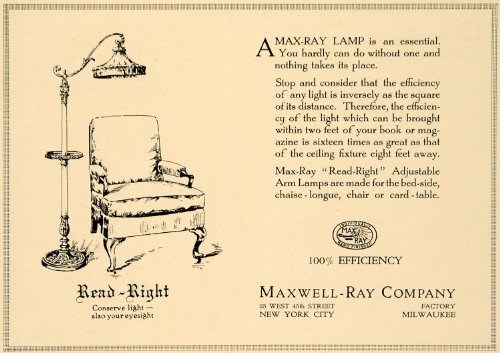 1919 Ad Maxwell-Ray Co. Read-Right Arm Lamps Lighting - Original Print Ad from PeriodPaper LLC-Collectible Original Print Archive